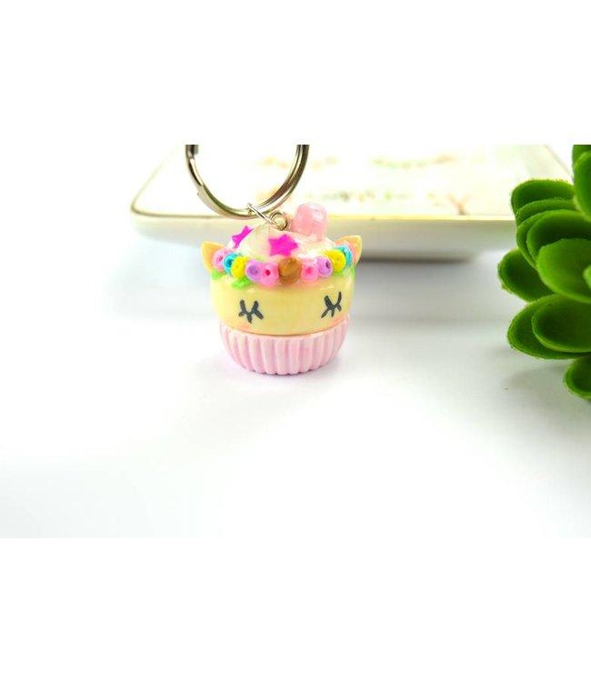 "Cute Clay ""Rosa Einhorn-Cupcake"" - Schlüsselanhänger"