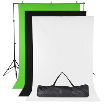 Fotostudio Achtergrond Set van 3 kleuren Zwart Wit en Groen