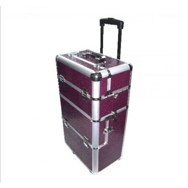 Starterset de luxe met paars croco / Zebra nagelkoffer - trolley