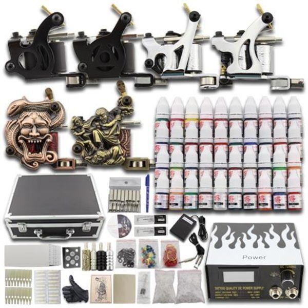 Complete Tattoo Kit Set 6 Guns Kompleet mt 40 kleuren Koffer