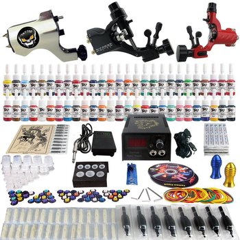 Tattoo set - kit - compleet - met 3 rotary gun - roterende tattoomachine met 54 inkt