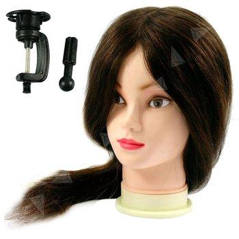 Oefenhoofd kappershoofd 100% echt haar bruin lang haar 45-50 cm