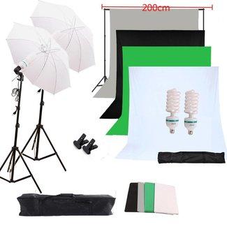 Complete fotostudio set van 4 kleuren achtergronden - Achtergrondsysteem - Lichtparaplus