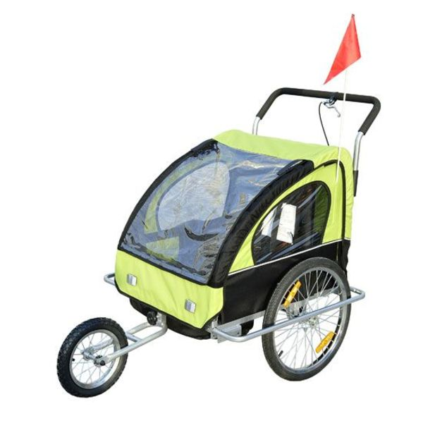 Fietskar - Fietsaanhanger met vering - voor 2 kinderen met joggerfunctie