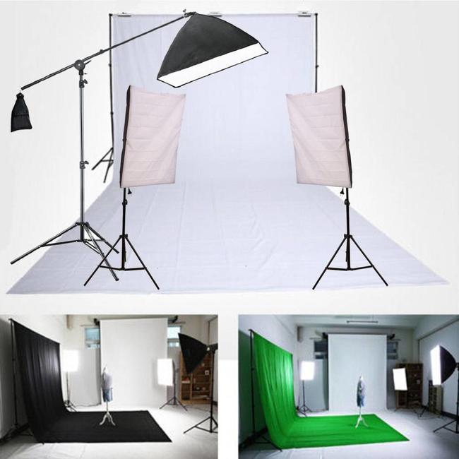 Complete fotostudio set - 6 x 3 Meter - Achtergrondsysteem - Softbox - Galgstatief