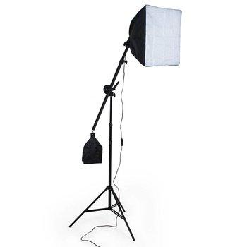 Softbox met hefboomtassen + fotostudiolamp op statief en draagtas