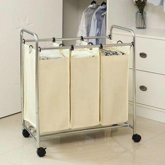 Waswagen wasmand met 3 vakken waskar op wieltjes