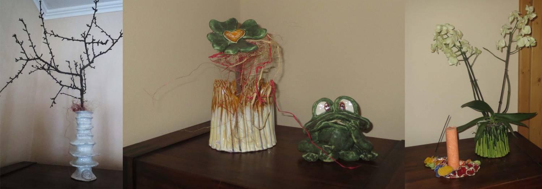 Keramikvasen, Keramikübertöpfe, Frösche, Kerzenuntersetzer