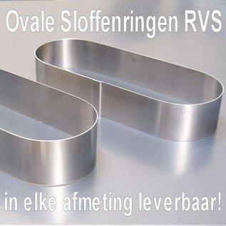 Ovale Sloffen ring 15-6 cm. RVS