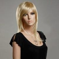 Halflange blonde pruik