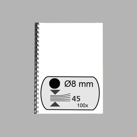 GBC plastic bindrug 8mm 21rings A4 100 stuks