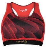 Fahari sports bra red & black feathers