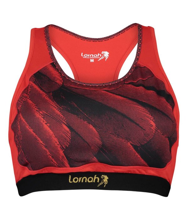 Fahari sport top red & black feathers