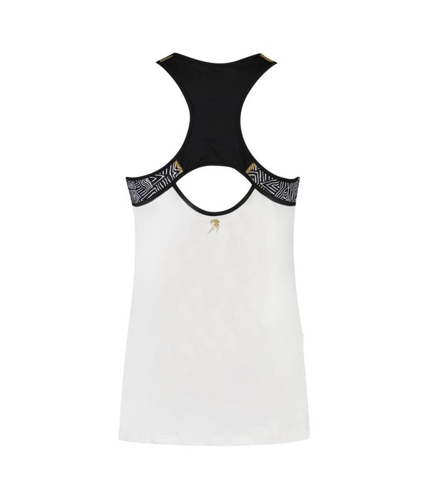 Kibibi tank top black & white feathers