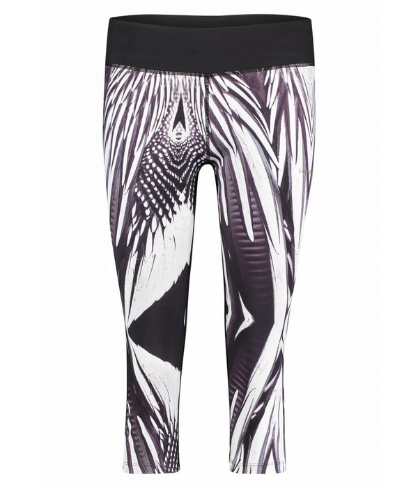 Makena Capri Tight black & white feathers