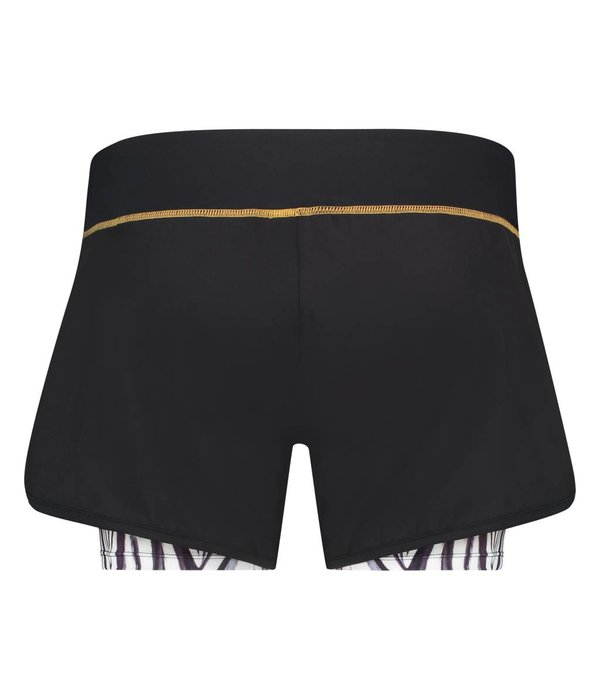 Afiya Shorts black & white feathers