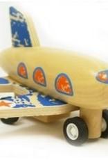 Houten vliegtuig pull back blauw