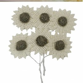 Burlap Flowers cream