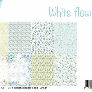 Papierset A4 - White Flowers