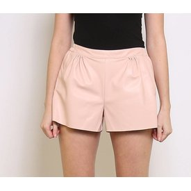 PINK FAUX LEATHER SHORT