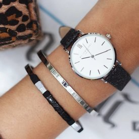 BLACK GLITTER WATCH