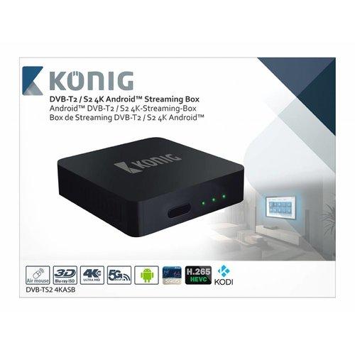 König König 4K DVB-T2 / DVB-S2 Android Streaming Box met Fly Mouse
