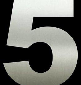 Huisnummer 5  RVS 30 cm groot