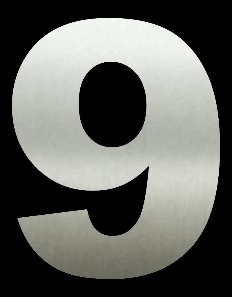 RVS Huisnummer 9 groot 30 cm