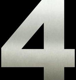 Huisnummer 4  RVS 40 cm groot