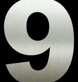 Huisnummer 9  RVS 50 cm groot