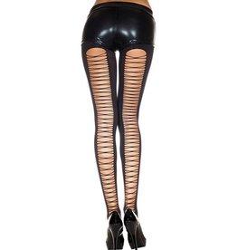Music Legs Dichte Panty Met Rijgveter Design - Zwart
