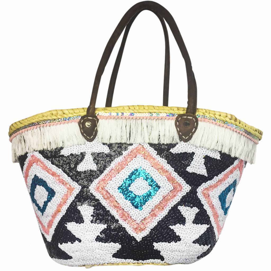 Peacebird Beach Bag Hippy Peace Aztec Bird - Black - IBZ brands