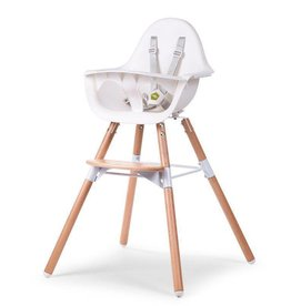 Childhome Childwood evolu 2 stoel wit/naturel 2 in 1 + beugel