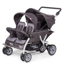 Childhome Childwheels quadruple buggy + autobrake 4 kinderen antraciet