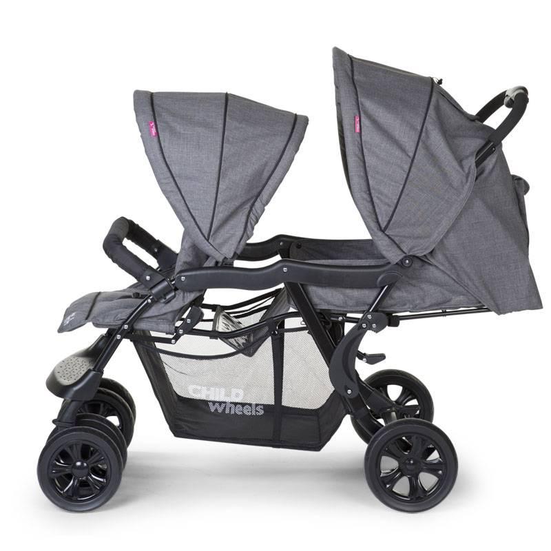 Childhome Childwheels tandem buggy 2 kinderen grijs antraciet