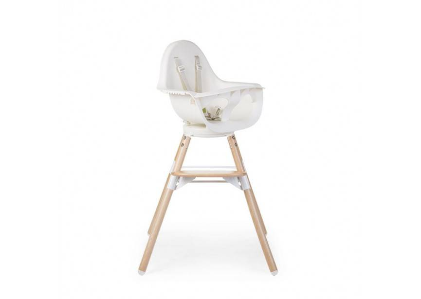 Childhome Childwood evolu ONE 80° stoel wit/naturel 2 in 1 + bumper