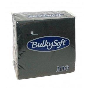Bulkysoft servetten zwart 24x24 2 laags per omdoos 30x100 st.