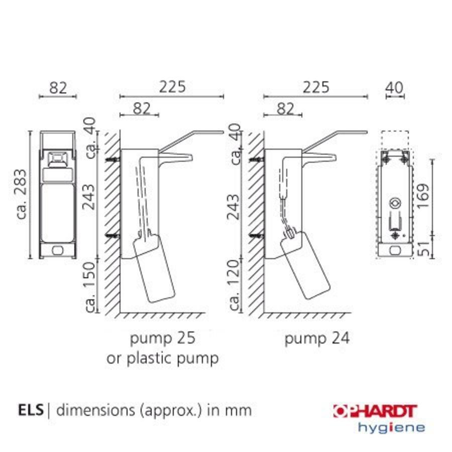 zeepdispenser wanddispenser 500 ml aluminium ELS 26A/25 met lange beugel
