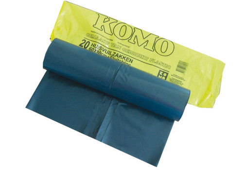 afvalzakken grijs 60 liter met sluitstrip - 1 pak a 20 zakken