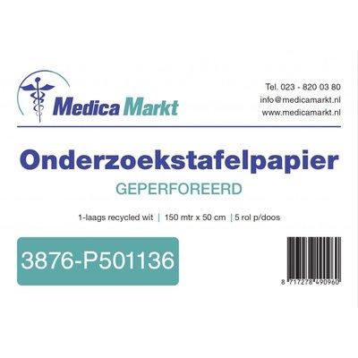 MedicaMarkt Onderzoektafelpapier 2 laags 50cm breed wit cellulose 6 rollen