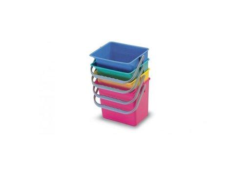 Emmer vierkant 6 liter blauw of rood p.s.