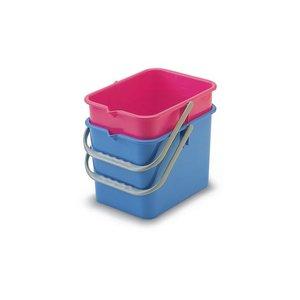 Euromop Emmer vierkant 9 liter blauw of rood p.s.