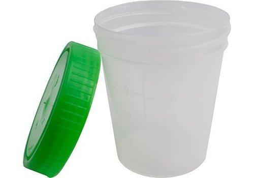 Urinebekers met schroefdeksel Groen 125 ml - 100 st