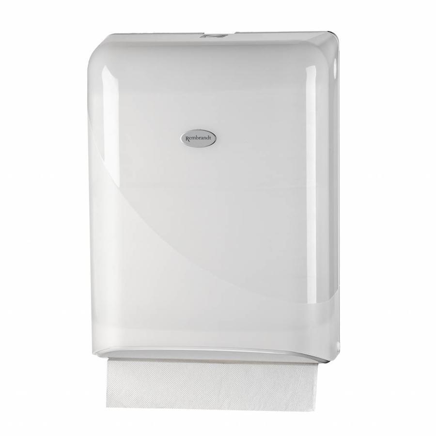 witte Interfold vouwhanddoek dispenser