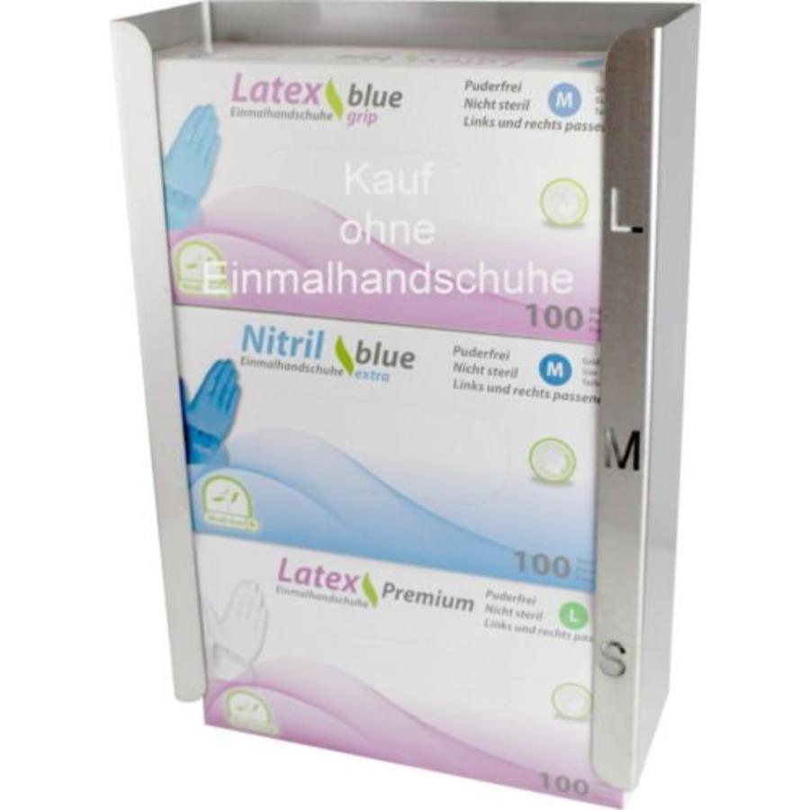 RVS dispenser SMAL voor 3 maten handschoenen