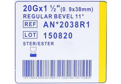 Agani 20G 38mm naalden Luer Lock doosje a 100st
