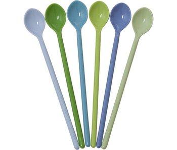 rice dk Melamin Latte Löffel 6er-Set blau grün