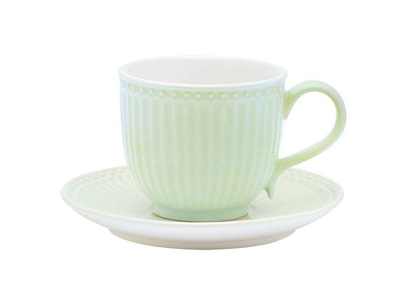 """GreenGate Tasse mit Unterteller """"Alice"""" pale green"""