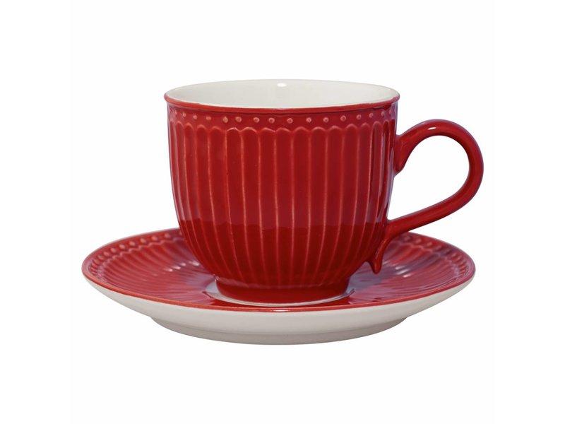 """GreenGate Tasse mit Unterteller """"Alice"""" red"""