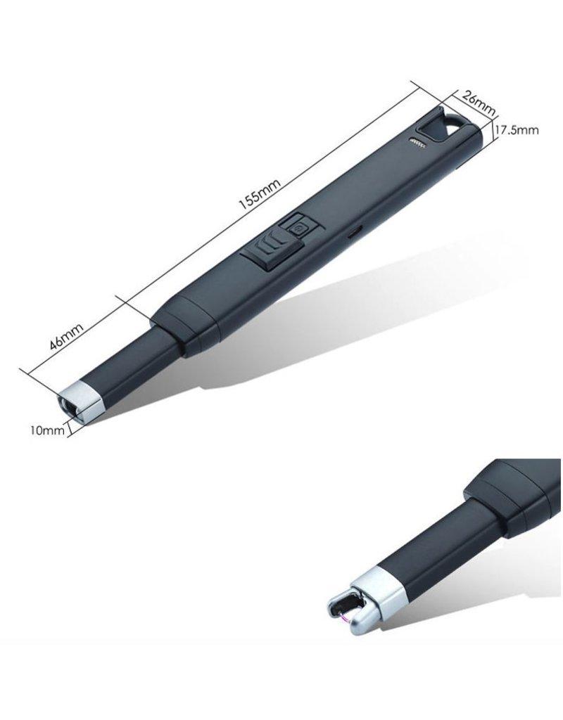 Lange aansteker in zwart of zilver